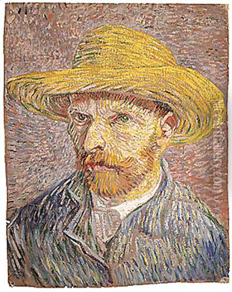 Self portrait with a Straw Hat (verso The Potato Peeler) probably 1887 Oil Painting - Vincent Van Gogh