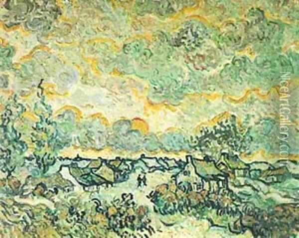 Cottages And Cypresses Reminiscence Of The North 1890 Oil Painting - Vincent Van Gogh
