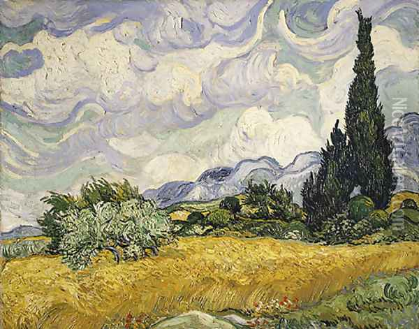 Wheat Field with Cypresses 1889 Oil Painting - Vincent Van Gogh