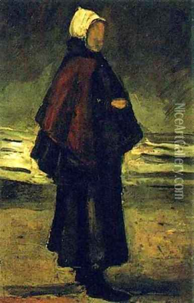 Fishmans Wife On The Beach 1882 Oil Painting - Vincent Van Gogh