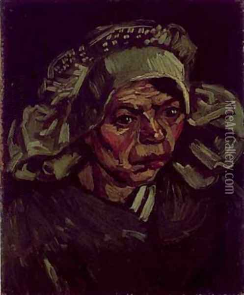 Head Of A Peasant Woman With A White Cap 1885 Oil Painting - Vincent Van Gogh