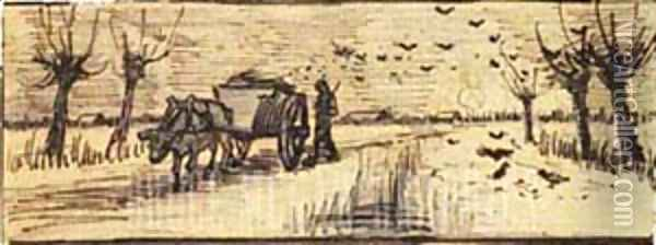 Ox Cart In The Snow Oil Painting - Vincent Van Gogh