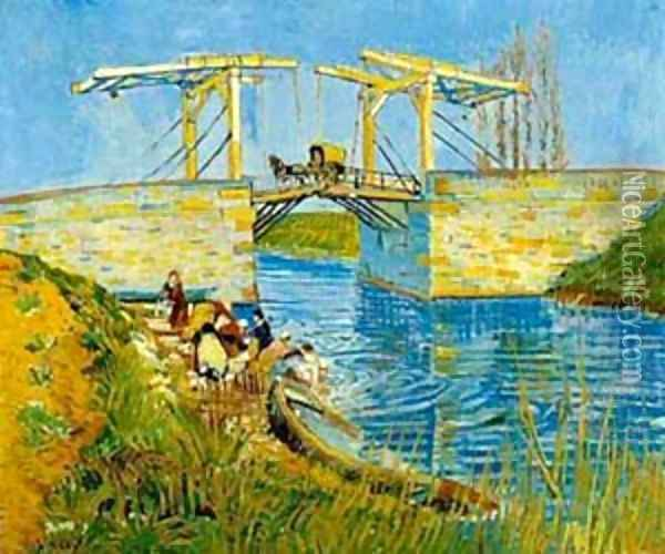 The Langlois Bridge With Women Washing 1888 Oil Painting - Vincent Van Gogh