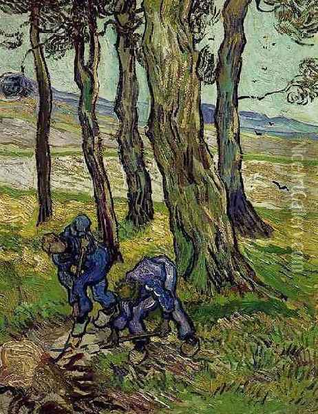 Two Diggers Among Trees Oil Painting - Vincent Van Gogh