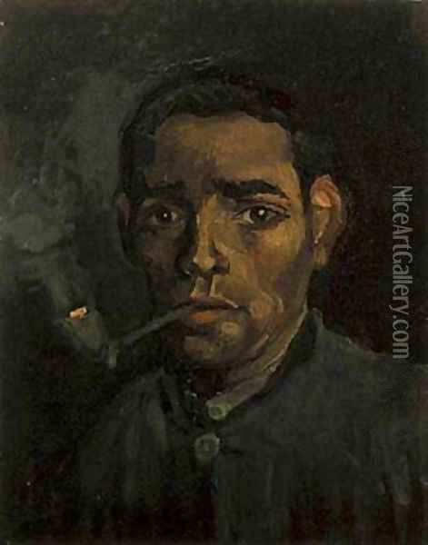 Head Of Young Peasant With Pipe 1884 Oil Painting - Vincent Van Gogh