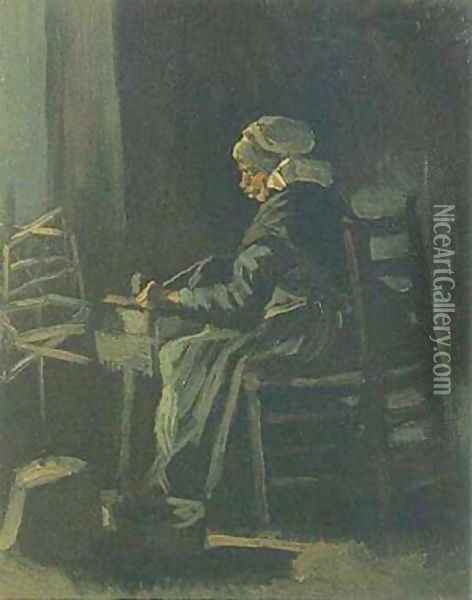 Peasant Woman At The Spinning Wheel 1885 Oil Painting - Vincent Van Gogh