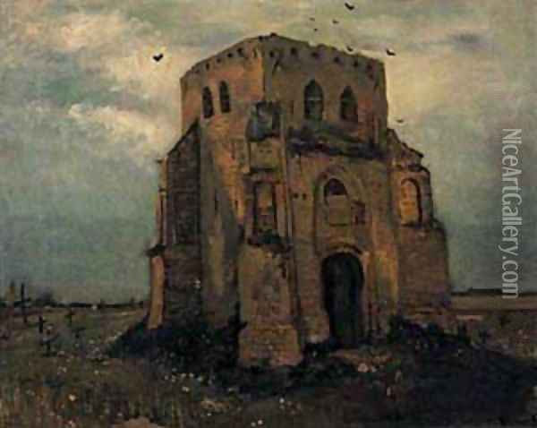Old Cemetery Tower At Nuenen 1885 Oil Painting - Vincent Van Gogh