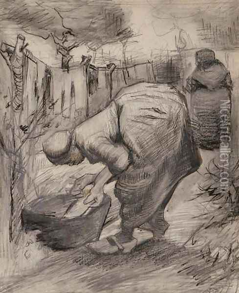 Woman by the Wash Tub in the Garden Oil Painting - Vincent Van Gogh
