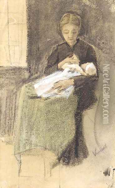 Sien Nursing Baby Oil Painting - Vincent Van Gogh