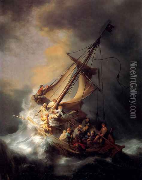 Christ In The Storm On The Sea Of Galilee Oil Painting - Rembrandt Van Rijn