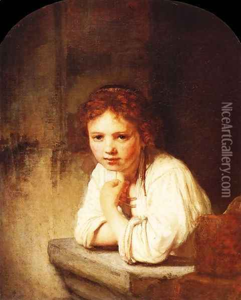 A Girl at a Window Oil Painting - Rembrandt Van Rijn