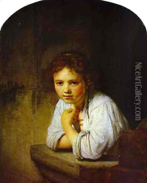 A Young Girl Leaning on a Window-Sill Oil Painting - Rembrandt Van Rijn