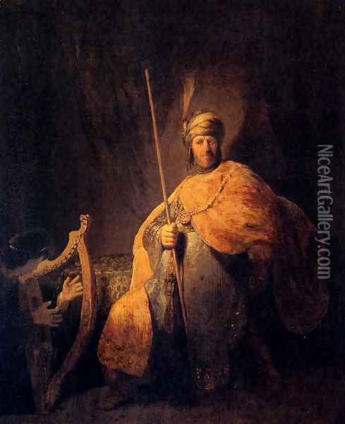 David Playing The Harp To Saul Oil Painting - Rembrandt Van Rijn