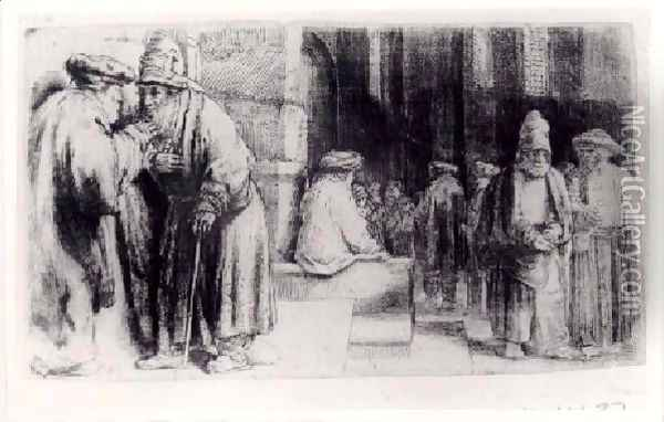 Jews in the Synagogue Oil Painting - Rembrandt Van Rijn