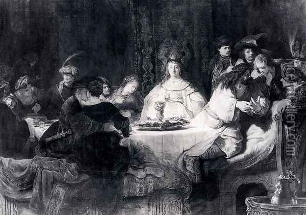 Samson Posing The Riddle At His Wedding Feast Oil Painting - Rembrandt Van Rijn