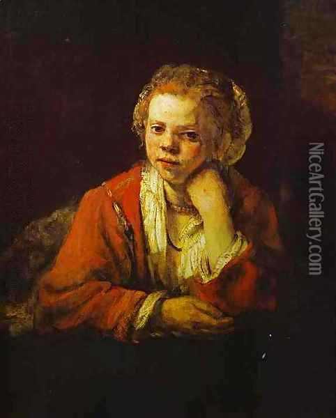 Young Girl at the Window Oil Painting - Rembrandt Van Rijn