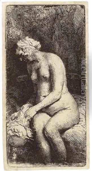 A Woman bathing her Feet at a Brook Oil Painting - Rembrandt Van Rijn