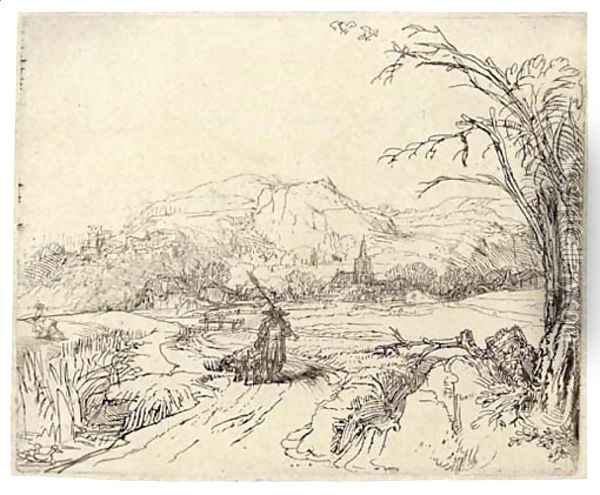 Landscape with a Sportsman and Dog Oil Painting - Rembrandt Van Rijn