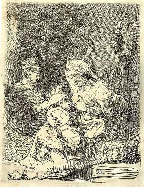 The Holy Family Oil Painting - Rembrandt Van Rijn