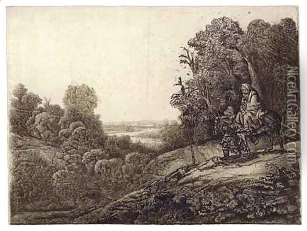 The Flight into Egypt Altered from Seghers Oil Painting - Rembrandt Van Rijn