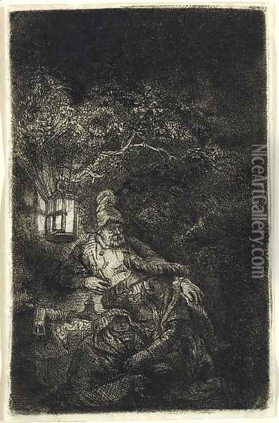 The Rest on the Flight into Egypt A Night Piece Oil Painting - Rembrandt Van Rijn