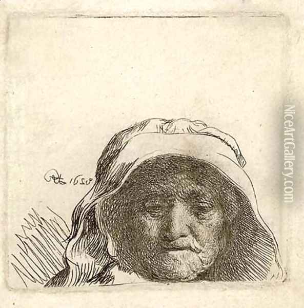 The Artist's Mother Head only, full Face Oil Painting - Rembrandt Van Rijn