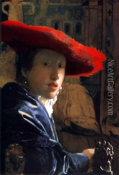 Girl With A Red Hat Oil Painting - Jan Vermeer Van Delft