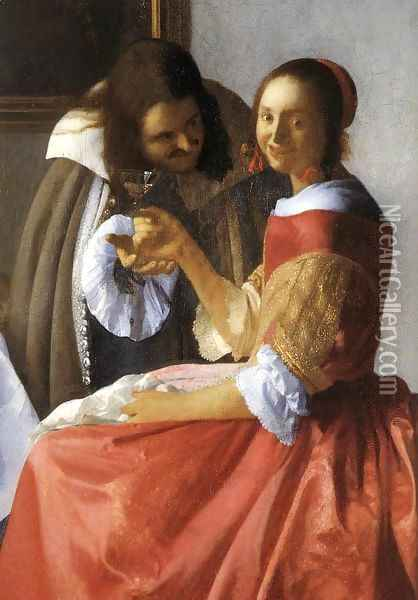 A Lady and Two Gentlemen (detail-1) c. 1659 Oil Painting - Jan Vermeer Van Delft