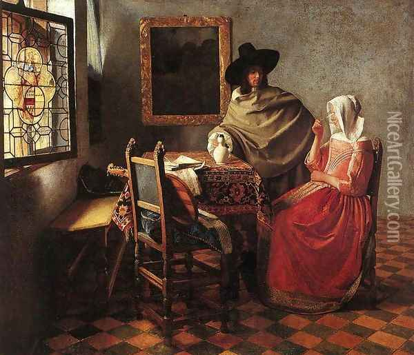 A Lady Drinking and a Gentleman c. 1658 Oil Painting - Jan Vermeer Van Delft
