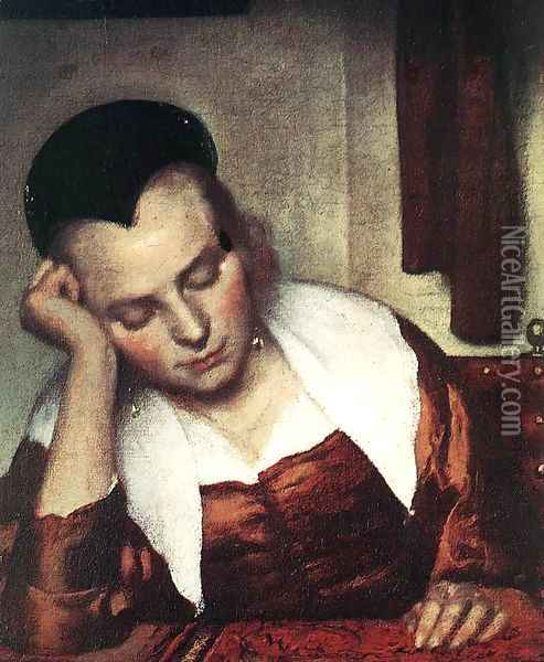 A Woman Asleep at Table (detail-1) c. 1657 Oil Painting - Jan Vermeer Van Delft