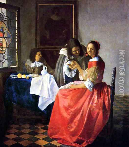 The Girl with a Wine Glass Oil Painting - Jan Vermeer Van Delft