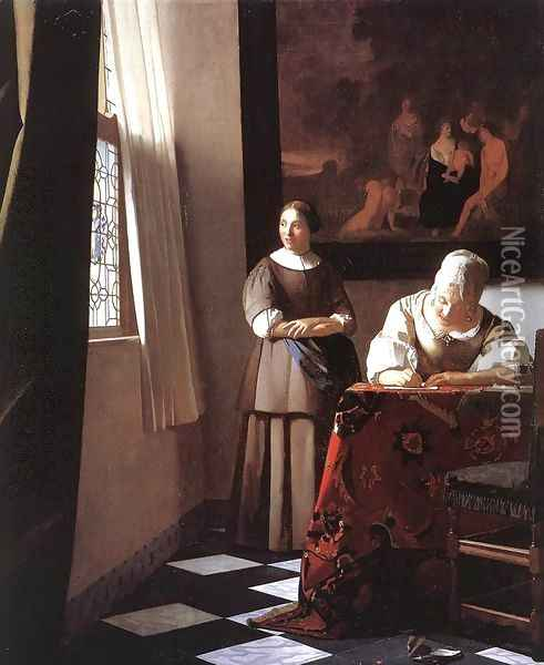 Lady Writing a Letter with Her Maid c. 1670 Oil Painting - Jan Vermeer Van Delft