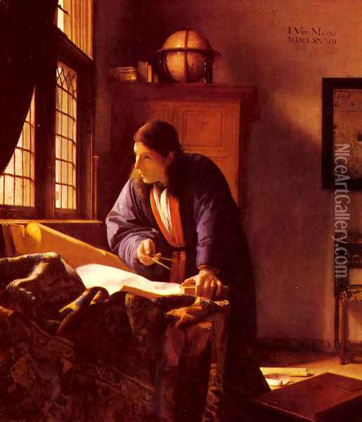 The Geographer c. 1668 Oil Painting - Jan Vermeer Van Delft