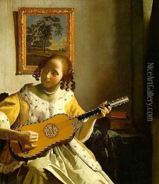 The Guitar Player Oil Painting - Jan Vermeer Van Delft