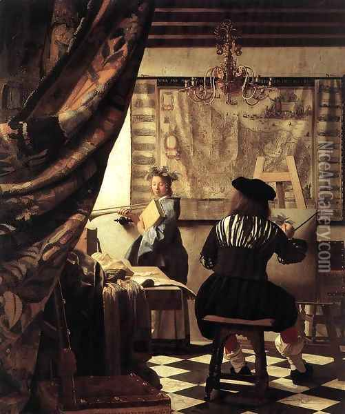 The Artist's Studio 1665 Oil Painting - Jan Vermeer Van Delft