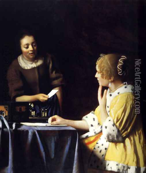Lady with Her Maidservant Holding a Letter Oil Painting - Jan Vermeer Van Delft
