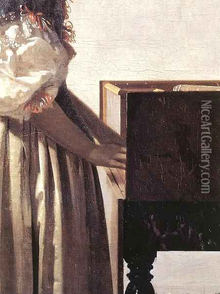 Lady Standing at a Virginal (detail-2) c. 1670 Oil Painting - Jan Vermeer Van Delft