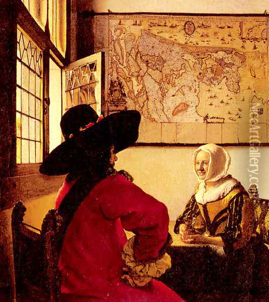 Officer with a Laughing Girl c. 1657 Oil Painting - Jan Vermeer Van Delft