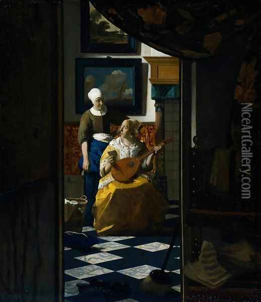 The Love Letter 1667-68 Oil Painting - Jan Vermeer Van Delft