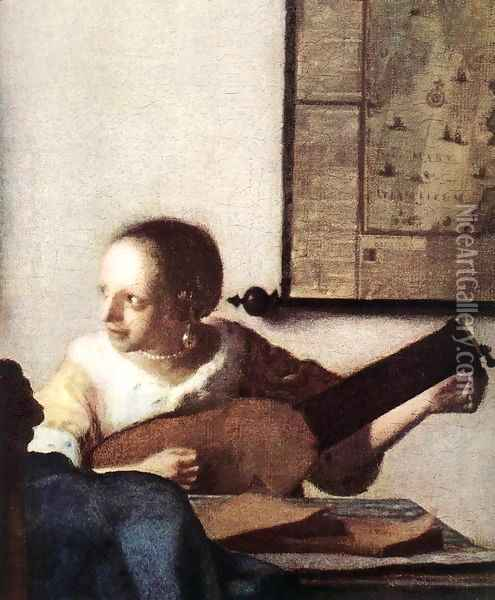 Woman with a Lute near a Window (detail) c. 1663 Oil Painting - Jan Vermeer Van Delft