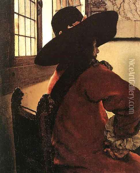 Officer with a Laughing Girl (detail-2) 1657 Oil Painting - Jan Vermeer Van Delft