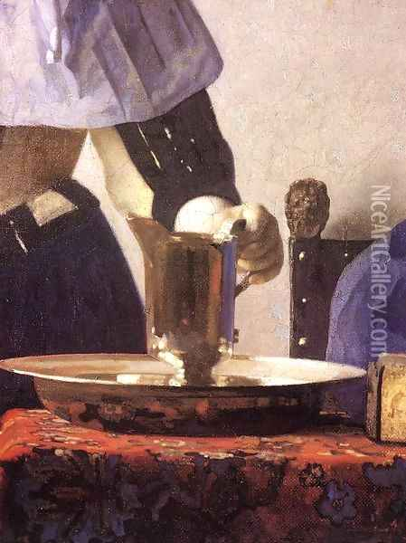 Young Woman with a Water Jug (detail-1) 1660-62 Oil Painting - Jan Vermeer Van Delft