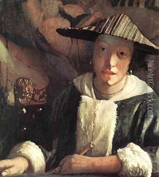 Young Girl with a Flute 1666-67 Oil Painting - Jan Vermeer Van Delft
