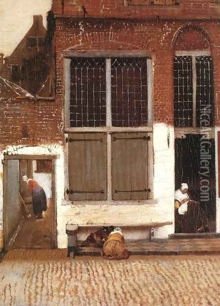 The Little Street (detail-3) 1657-58 Oil Painting - Jan Vermeer Van Delft