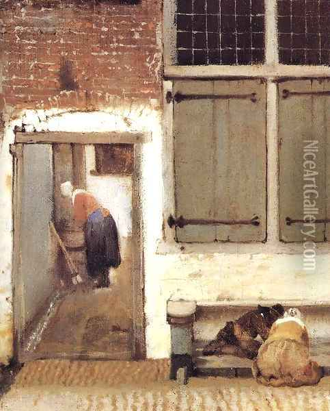 The Little Street (detail-2) 1657-58 Oil Painting - Jan Vermeer Van Delft