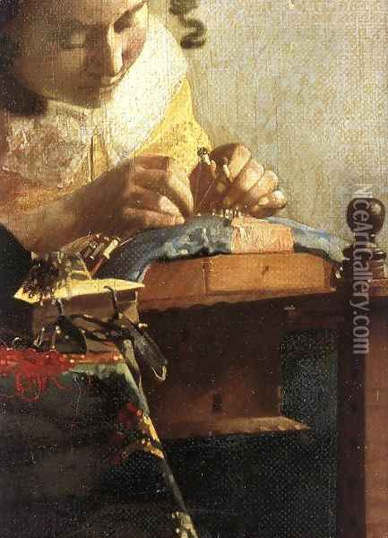The Lacemaker (detail-1) 1669-70 Oil Painting - Jan Vermeer Van Delft