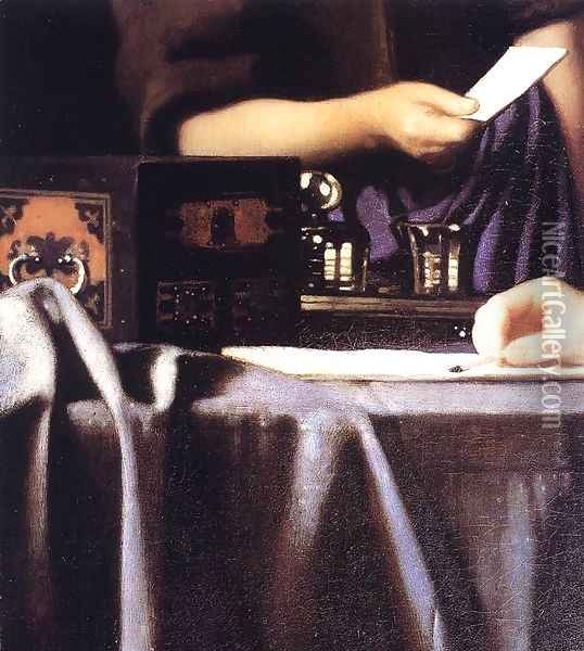 Lady with Her Maidservant Holding a Letter [detail: 3] Oil Painting - Jan Vermeer Van Delft