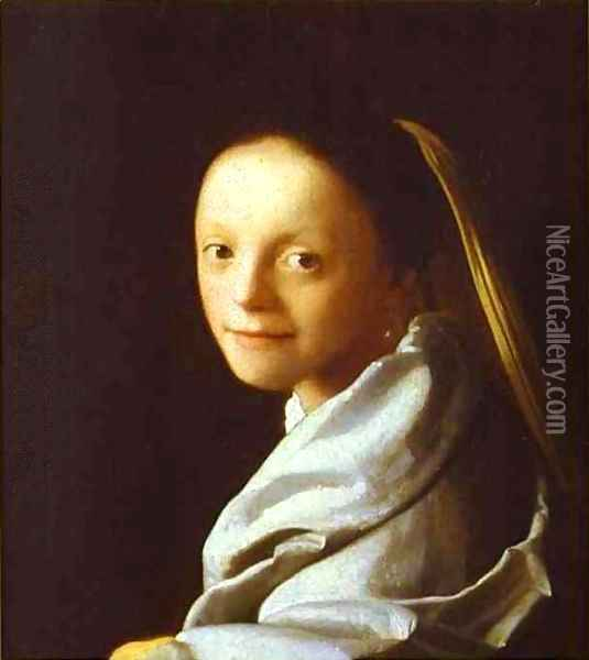 Head Of A Girl 1666-1667 Oil Painting - Jan Vermeer Van Delft