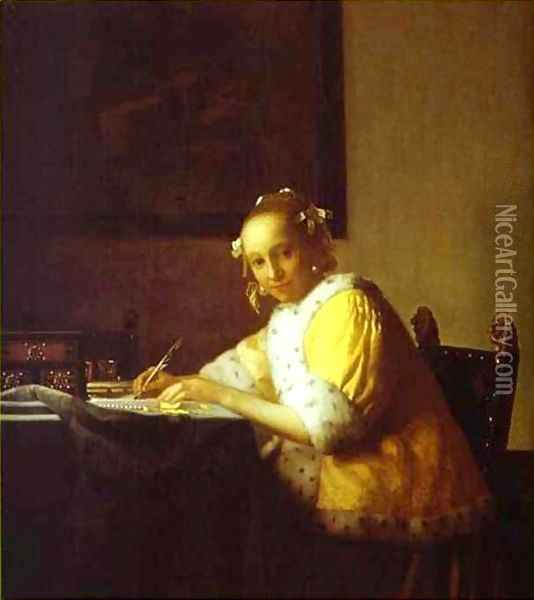 Lady Writing A Letter 1665-1670 Oil Painting - Jan Vermeer Van Delft