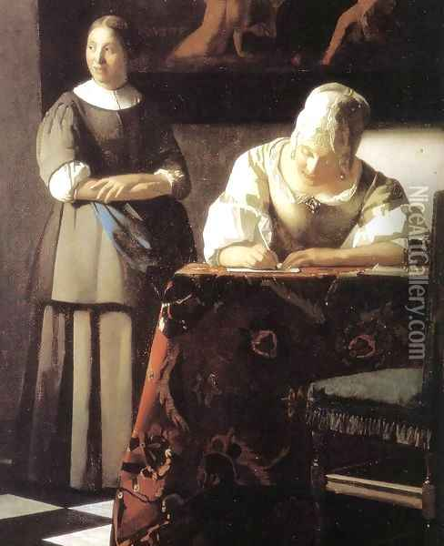 Lady Writing a Letter with Her Maid (detail) 2 Oil Painting - Jan Vermeer Van Delft